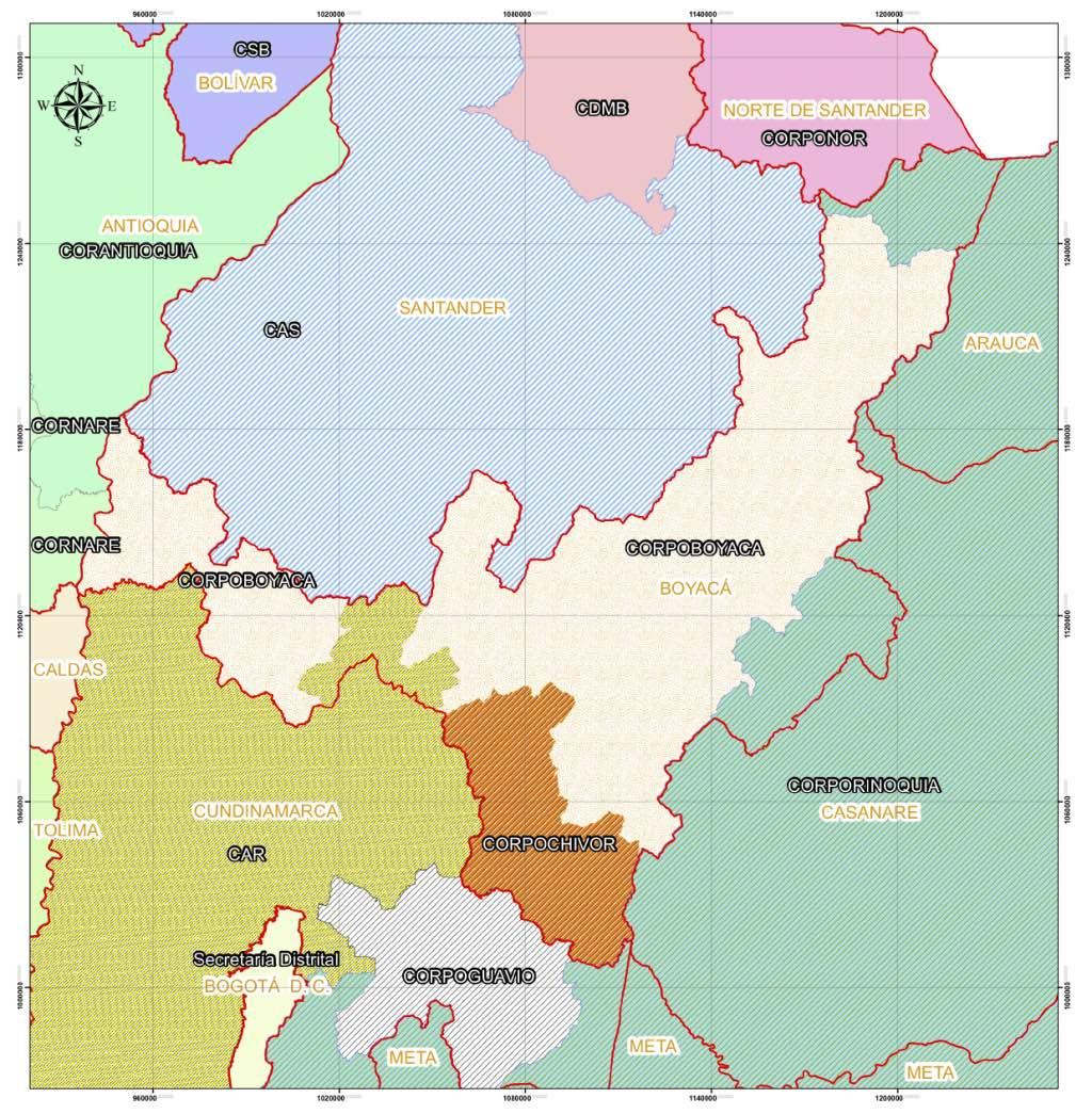 Mapa Distribución Corporaciones en Boyacá