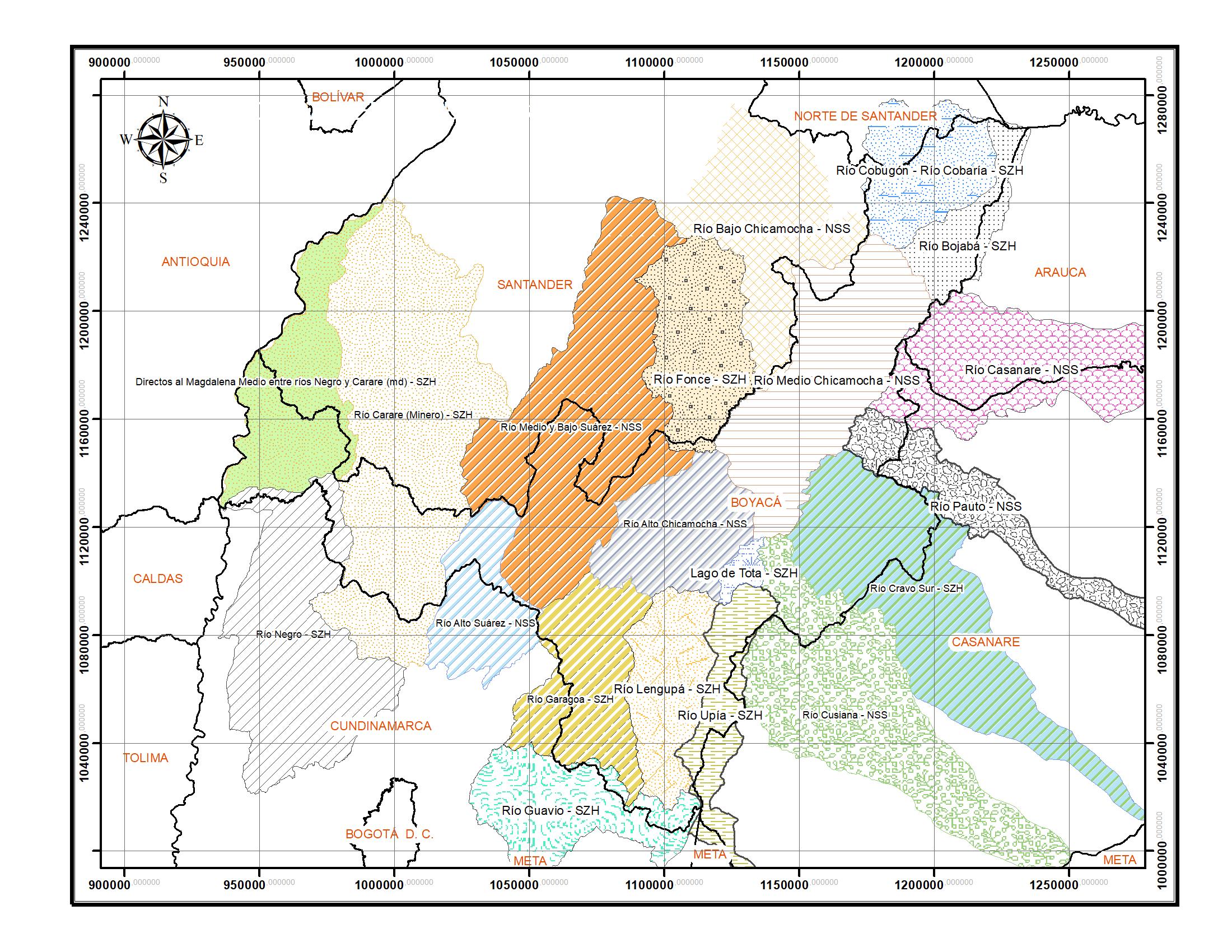 Mapa Cuencas en Boyacá