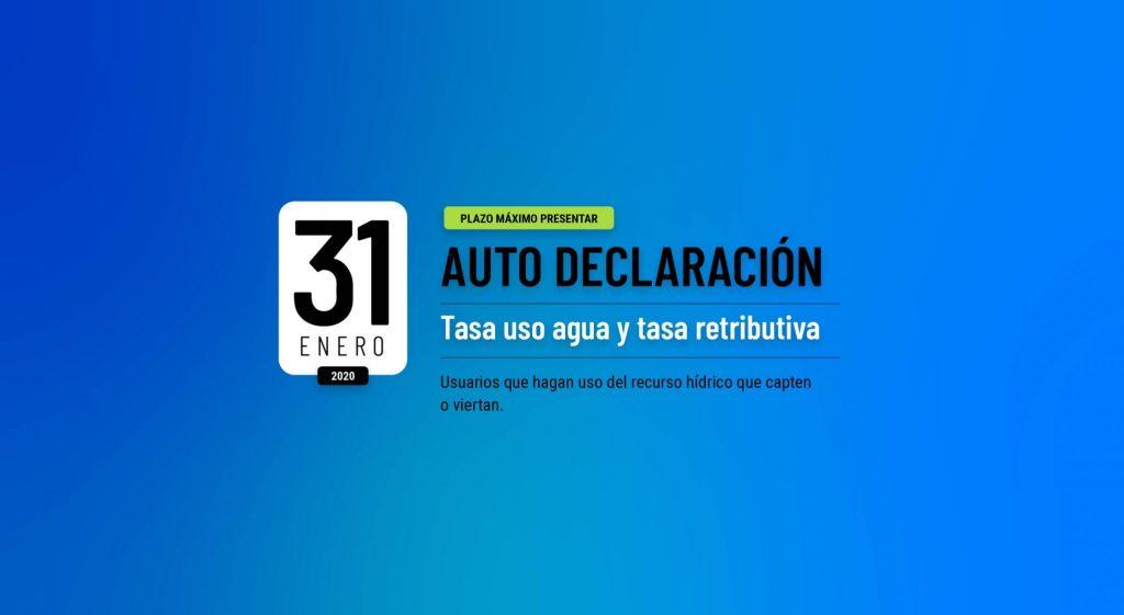 Foto Autodeclaración Tasa por utilización de agua y Tasa retributiva plazo máximo 31 enero 2020